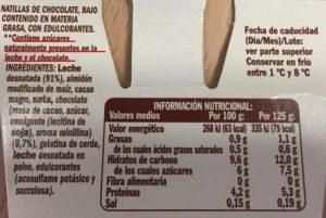 información nutricional productos, carbohidratos y azúcares