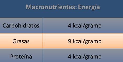Kcal de 1 gr de grasa PRONAF